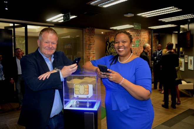 gallery/stephen bailey and funeka montjane at the standard bank mobile launch